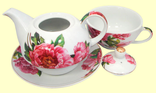 Tetera 400 ml 1 taza 1 plato motivo flores signes for Juego de tazas de te