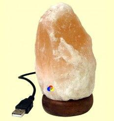 Lámpara de Sal conexión USB Luz Multicolor - Blanca 600 gramos