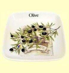 Olivera de cerámica cuadrada con dibujo de olivos - Signes Grimalt
