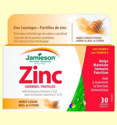 Zinc Lozenges con Equinácea y Vitaminas C y D - Jamieson - 30 comprimidos