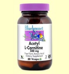 Acetil L-Carnitina 500 mg - Bluebonnet - 30 cápsulas vegetales
