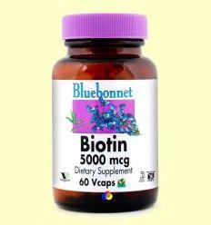 Biotina 5000 mcg - Bluebonnet - 60 cápsulas vegetales