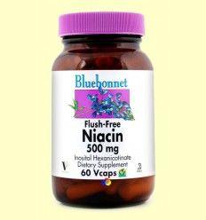 Niacina No Ruborizante 500 mg - Bluebonnet - 60 cápsulas vegetales