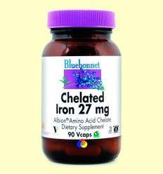 Hierro Quelado 27 mg Albion - Bluebonnet - 90 cápsulas vegetales