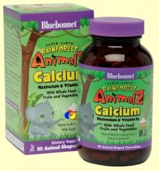 Super Earth Rainforest Animalz Multiple Calcium & Vitamin D3 - Bluebonnet - 90 comprimidos masticables