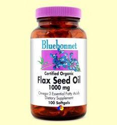 Aceite de Semilla de Lino Ecológico 1000 mg - Bluebonnet - 100 cápsulas blandas