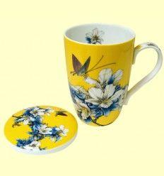 Taza para Té con tapa amarilla motivos florales - Signes Grimalt - 33 ml