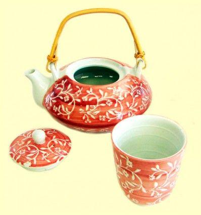 Tetera con un vaso cerámica - dibujo flores
