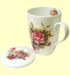 Taza para Té con tapa blanca motivos florales - Signes Grimalt - 330 ml