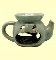Quemador de aceites esenciales de cerámica Gris con forma de tetera - Tierra 3000