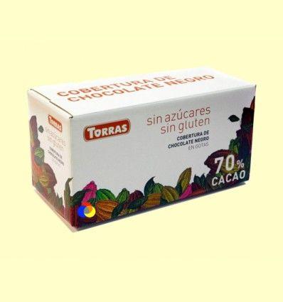 Cobertura de Chocolate Negro en Gotas sin Azúcar - Torras - 1000 gramos