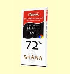 Chocolate Negro 72% Cacao Ghana sin Azúcar - Torras - Tableta de 125 gramos