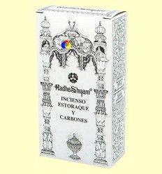 Incienso Estoraque y Carbones - Radhe Shyam - 50 g + 10 uds