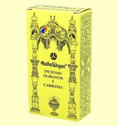 Incienso Olibanum y Carbones - Radhe Shyam - 50 g + 10 uds