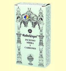 Incienso Mirra y Carbones - Radhe Shyam - 50 g + 10 uds