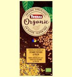 Chocolate negro Eco con sésamo tostado y polen Eco - Torras - 100 gramos