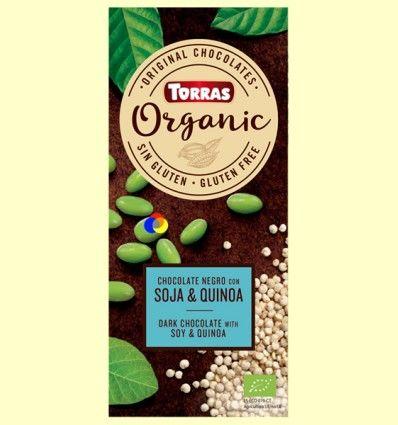 Chocolate negro Eco con soja tostada y quinoa hinchada - Torras - 100 gramos