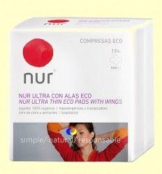 Compresas Ultrafinas Alas Eco - Nur - 12 unidades