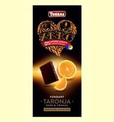 Chocolate Negro Zero Fondant Naranja - Torras - 125 gramos