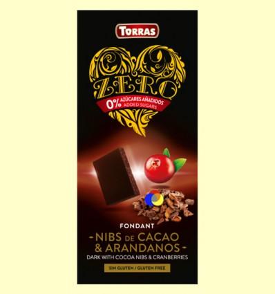 Chocolate Negro con Nibs de Cacao y Arándanos Zero - Torras - 125 gramos