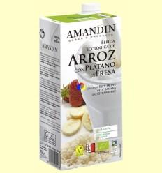 Bebida de Arroz con Plátano y Fresa Bio - Amandin - 1 litro