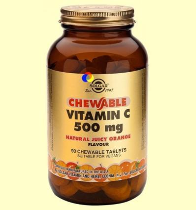 Vitamina C 500 mg - Sabor a naranja - Solgar - 90 comprimidos masticables *