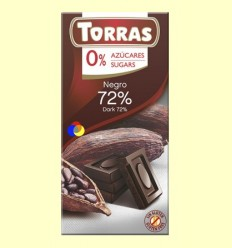 Chocolate Negro 72% Cacao - 0% Azúcar - Torras - 75 gramos
