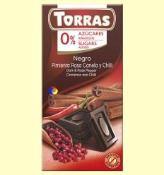 Chocolate Negro Pimienta Rosa, Canela y Chili - 0% Azúcar - Torras - 75 gramos