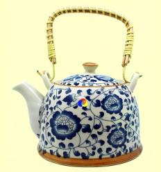 Tetera de Cerámica Flores Azul - Teapot - 900 ml