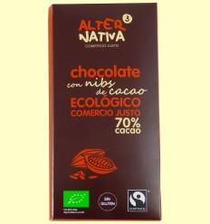 Chocolate 70 % con Nibs de Cacao - Alternativa3 - 80 gramos