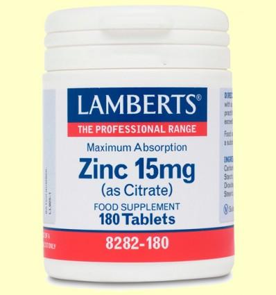 Zinc 15 mg Citrato - Lamberts - 180 tabletas