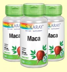 Maca - Solaray - Pack 3 unidades de 100 cápsulas de 525 mg