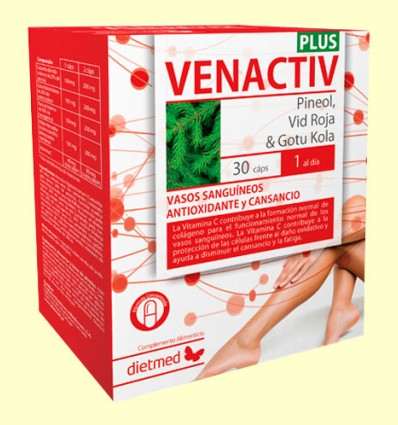 Venactiv Plus - Vasos Sanguídeos, Antioxidante y Cansancio - Dietmed - 30 cápsulas