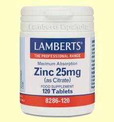 Zinc 25 mg (Como Citrato) - Lamberts - 120 tabletas