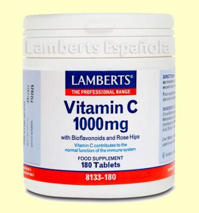 Vitamina C 1000 mg Con Bioflavonoides y Escaramujo - Lamberts - 180 tabletas