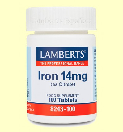 Hierro (citrato) - Lamberts - 14 mg 100 tabletas