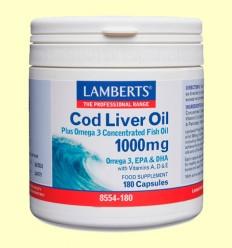 Aceite de Hígado de Bacalao 1000 mg - Lamberts - 180 cápsulas
