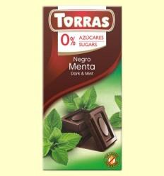 Chocolate Negro con Menta 52% Cacao - 0% Azúcar - Torras - 75 gramos