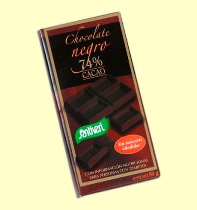 Chocolate Negro 74% Cacao sin Azúcares - Santiveri - 80 gramos