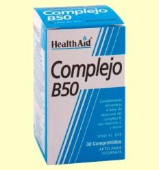 Complejo B50 - Con Vitamina C + Hierro - Health Aid - 30 comprimidos