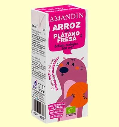 Bebida de Arroz con Plátano y Fresa Eco - Amandin - 200 ml