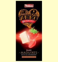 Chocolate Blanco con Fresas Zero - Torras - 125 gramos