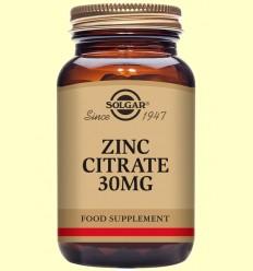 Zinc Citrato 30 mg - Solgar - 100 cápsulas vegetales
