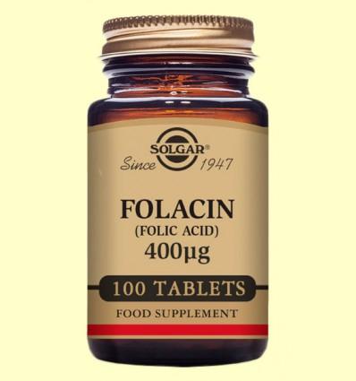Folacín 400µg - Vitamina B9 - Solgar - 100 comprimidos