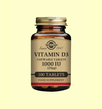 Vitamina D3 1000IU (25ug) Masticable - Solgar - 100 comprimidos