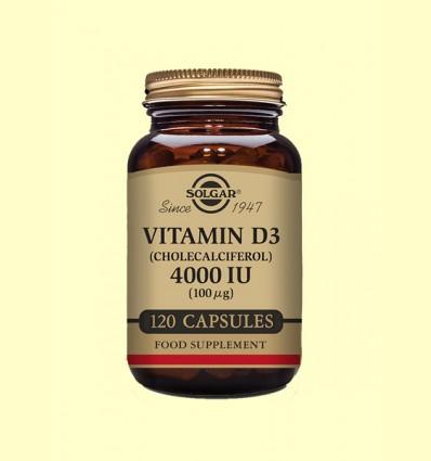 Vitamina D3 Colecalciferol 4000 UI (100µg) - Solgar - 120 cápsulas
