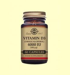 Vitamina D3 Colecalciferol 4000 UI (100µg) - Solgar - 60 cápsulas