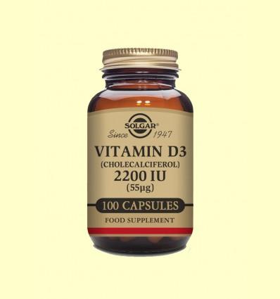 Vitamina D3 (Colecalciferol) 2200 UI - Solgar - 100 cápsulas