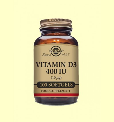 Vitamina D3 400 UI - Solgar - 100 cápsulas blandas