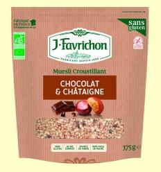 Muesli Crunchy Chocolate y Castaña Bio - Favrichon - 375 gramos
